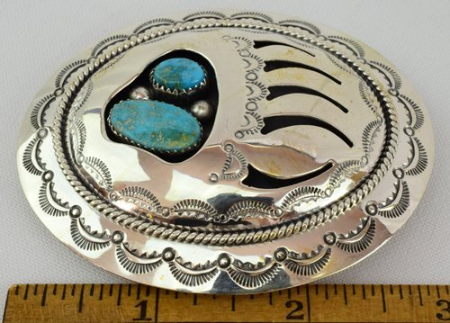 Native American Sterling Shadow Box Bear Paw Belt Buckl