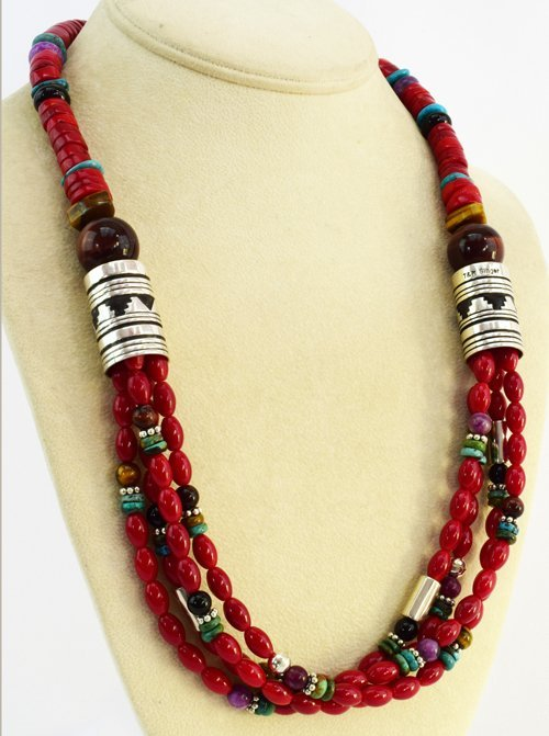 Navajo Coral & Multi-Stone Necklace - T & R Singer