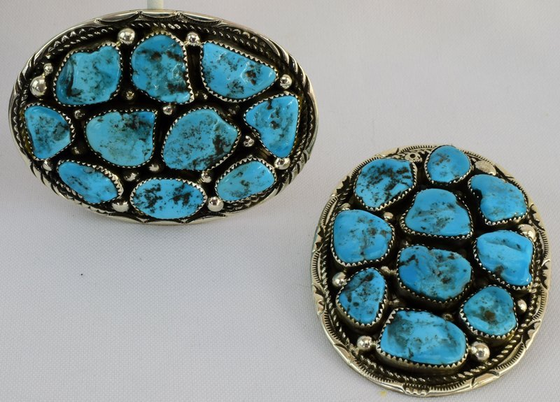 Navajo Sterling Turquoise Nugget Belt Buckle+Bolo Tie