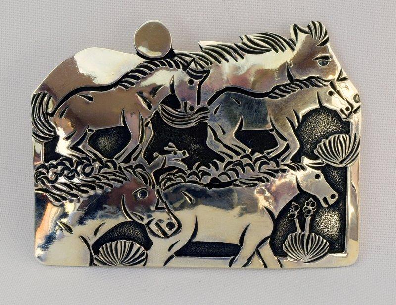 Navajo Sterling Hand Made Belt Buckle - Lloyd Becenti