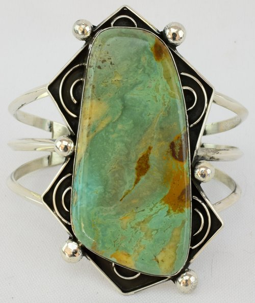 Native American Sterling Single Stone Turquoise Bracele