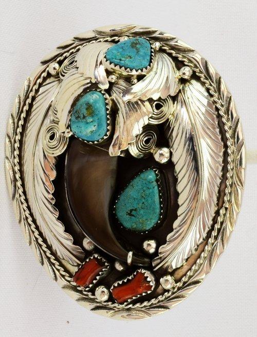 Native American Sterling Silver Bear Claw Bolo Tie
