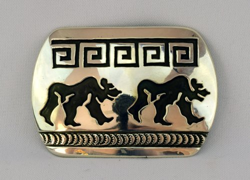 Native American Sterling Silver Stamped Belt Buckle