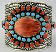 Sterling Spiny Oyster & Sleeping Beauty Turquoise Cuff