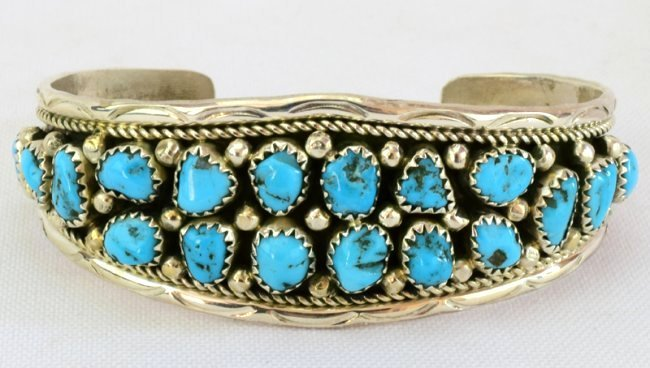 Navajo Sterling Silver  Turquoise Nugget Cuff Bracelet
