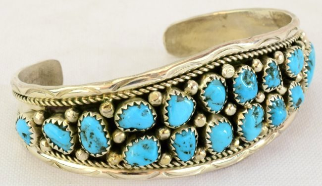 Navajo Sterling Silver  Turquoise Nugget Cuff Bracelet - 2