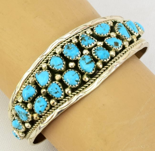 Navajo Sterling Silver  Turquoise Nugget Cuff Bracelet - 3