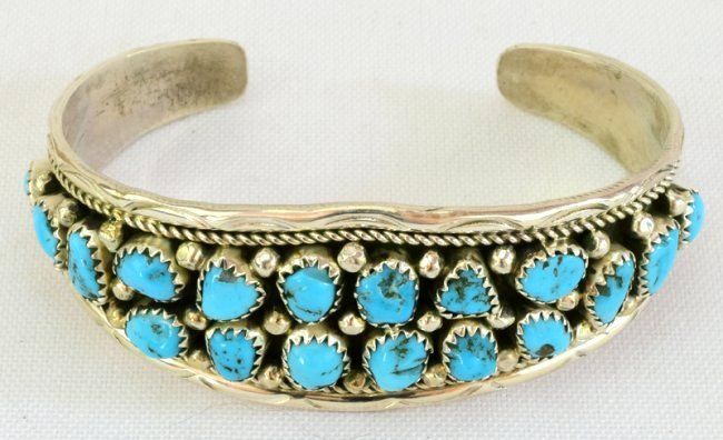 Navajo Sterling Silver  Turquoise Nugget Cuff Bracelet - 4