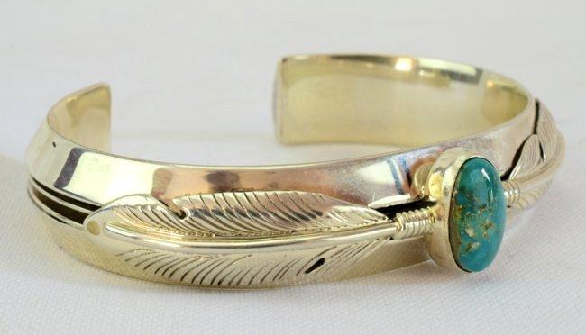 Native American Sterling Ladies Cuff Bracelet - 2