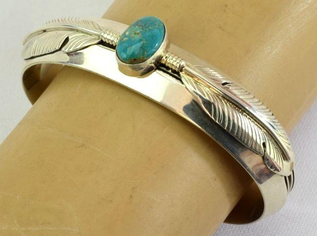 Native American Sterling Ladies Cuff Bracelet - 3