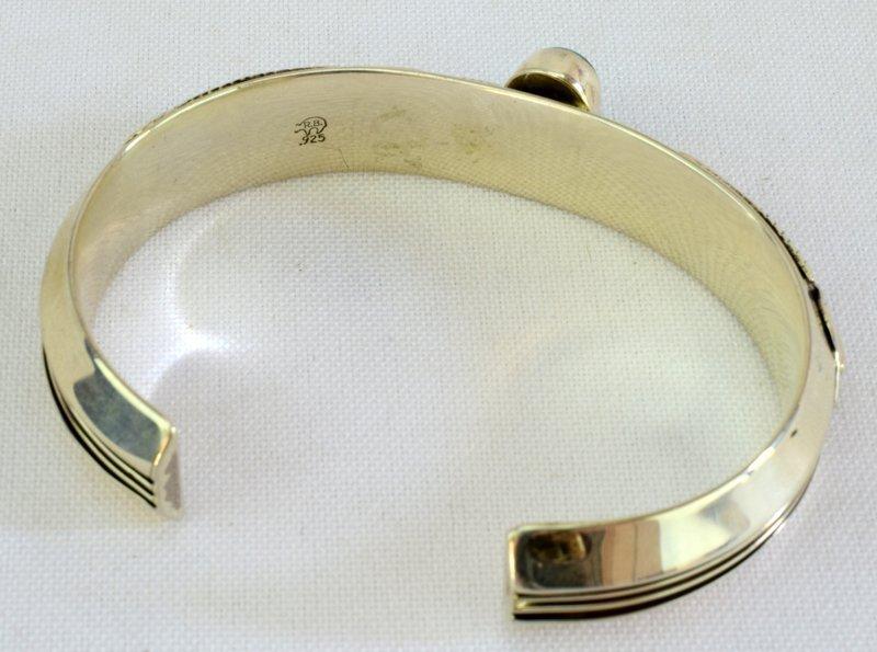 Native American Sterling Ladies Cuff Bracelet - 4