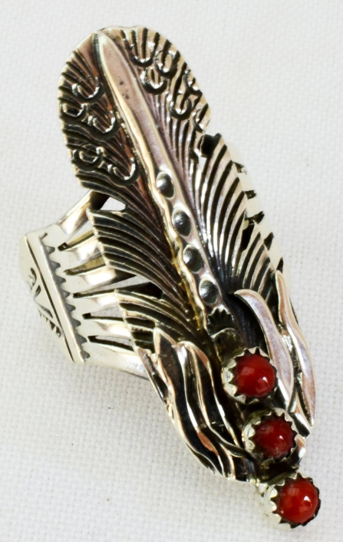 Native American Sterling Feather Ring w/Coral - 4