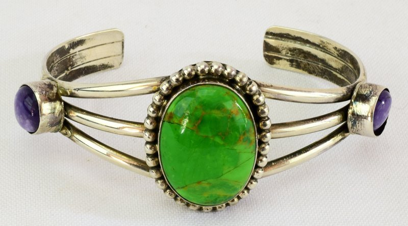 Navajo Sterling Green Turquoise & Sugilite Cuff