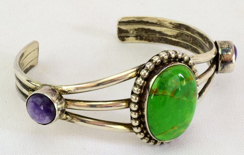 Navajo Sterling Green Turquoise & Sugilite Cuff - 2