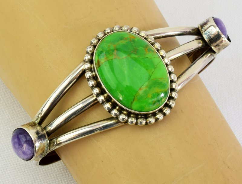 Navajo Sterling Green Turquoise & Sugilite Cuff - 3