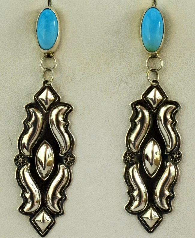 Native American Sterling Silver Earrings w/Turquoise