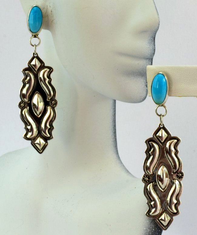 Native American Sterling Silver Earrings w/Turquoise - 4