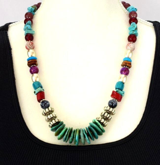 Native American Turquoise & Treasure Bead Necklace