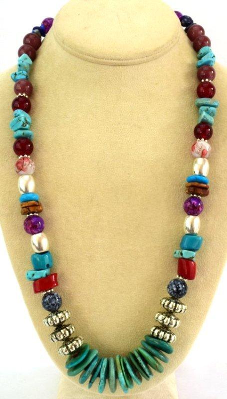 Native American Turquoise & Treasure Bead Necklace - 2