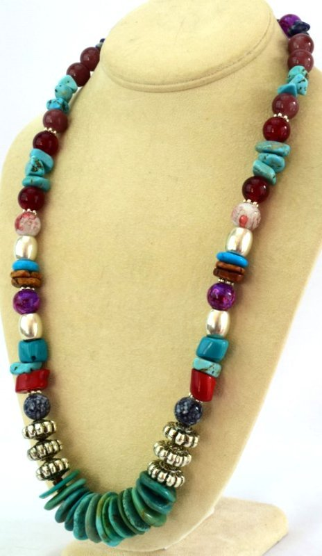 Native American Turquoise & Treasure Bead Necklace - 3