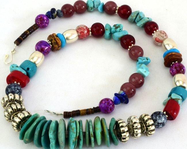 Native American Turquoise & Treasure Bead Necklace - 4