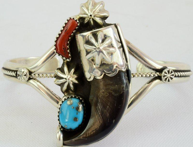 Navajo Sterling Silver Bear Claw Cuff Bracelet