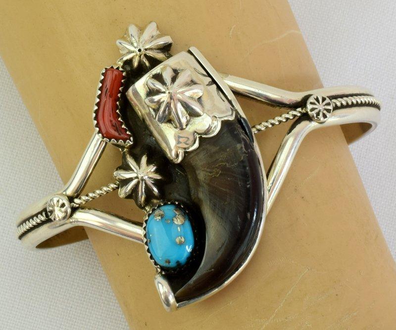 Navajo Sterling Silver Bear Claw Cuff Bracelet - 3