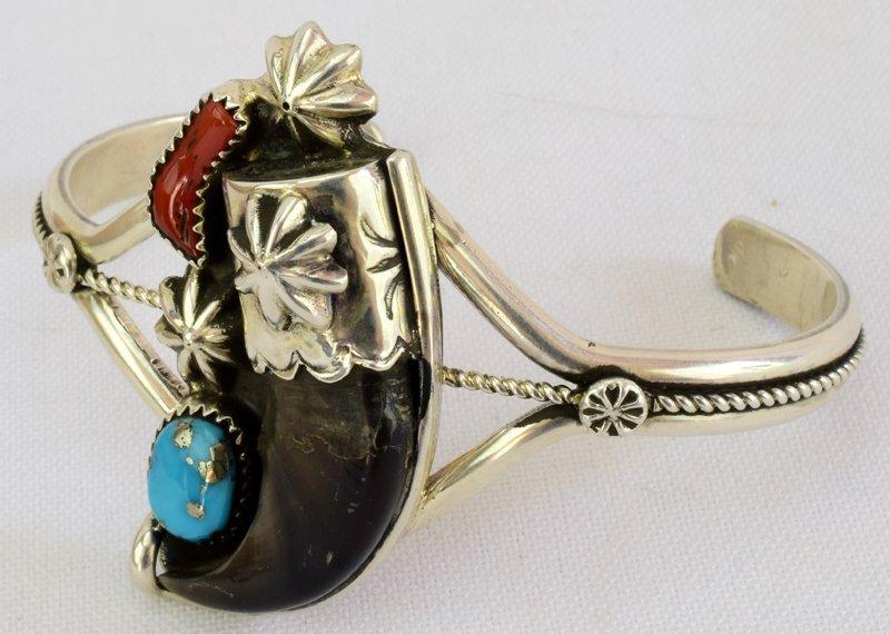 Navajo Sterling Silver Bear Claw Cuff Bracelet - 4
