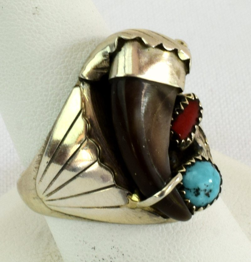 Native American Sterling Silver Bear Claw Ring - 2