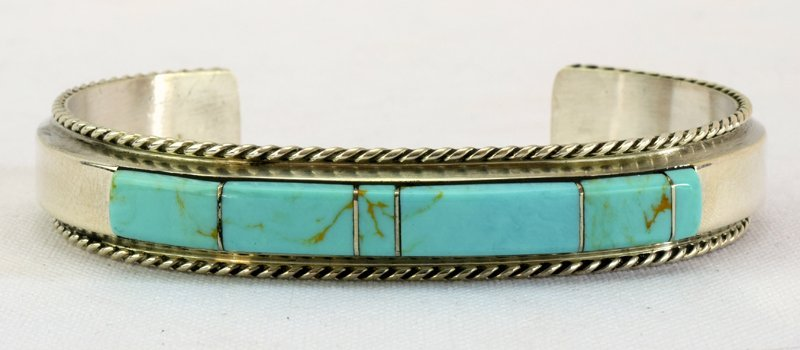 Native American Sterling Turquoise Inlay Cuff Bracelet