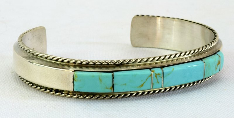 Native American Sterling Turquoise Inlay Cuff Bracelet - 2