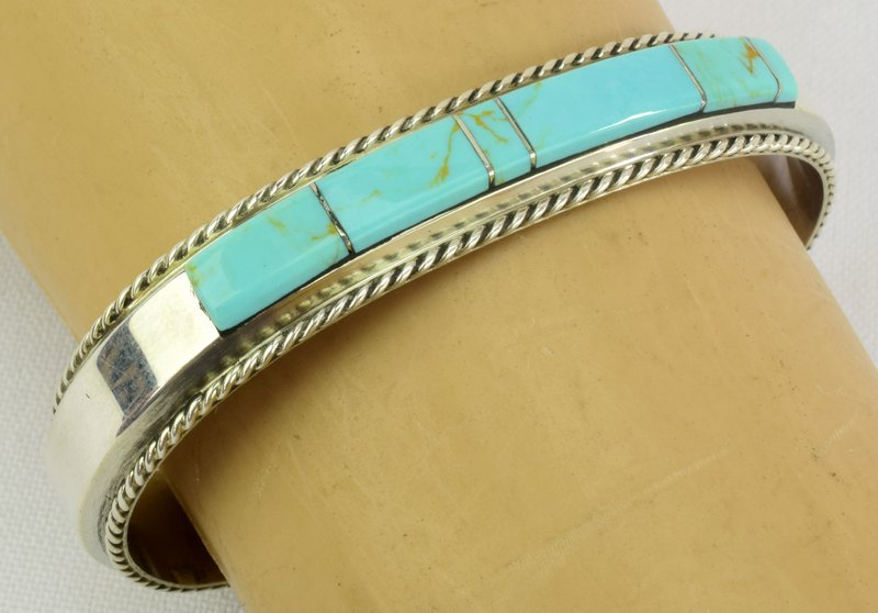 Native American Sterling Turquoise Inlay Cuff Bracelet - 3