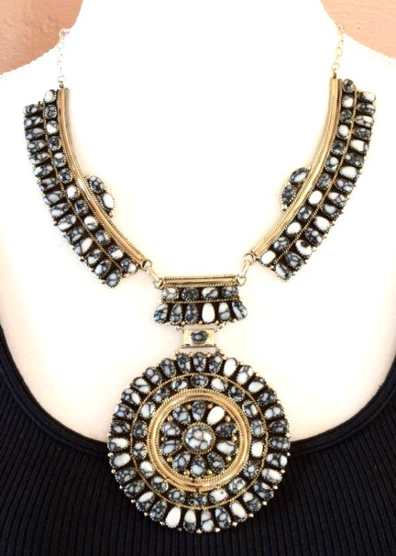 Navajo Sterling White Buffalo Ceremonial Necklace