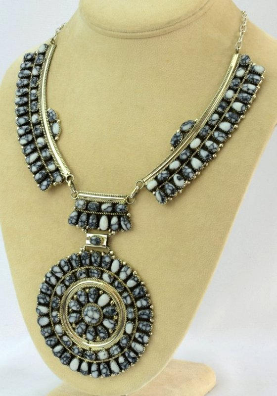 Navajo Sterling White Buffalo Ceremonial Necklace - 2