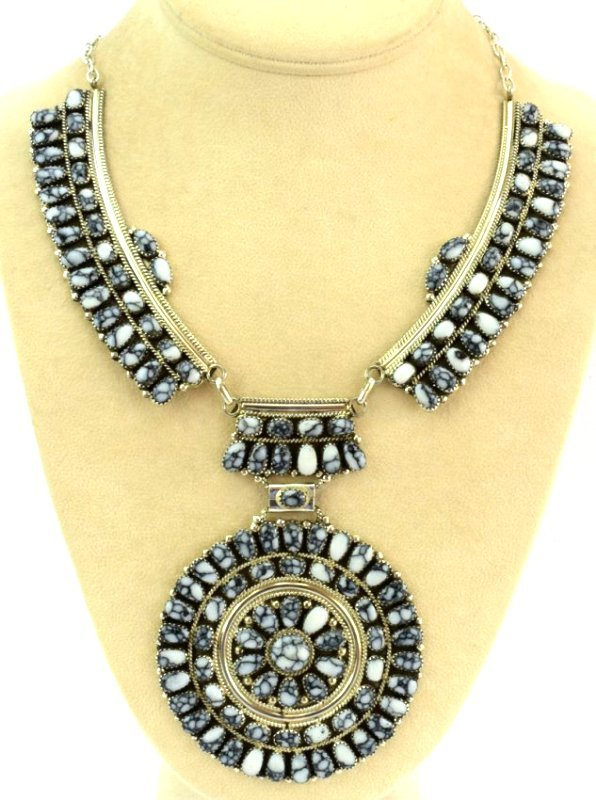 Navajo Sterling White Buffalo Ceremonial Necklace - 3