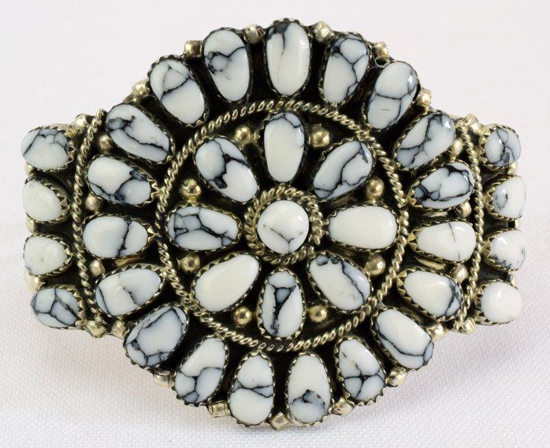 Navajo Sterling White Buffalo Cuff Bracelet