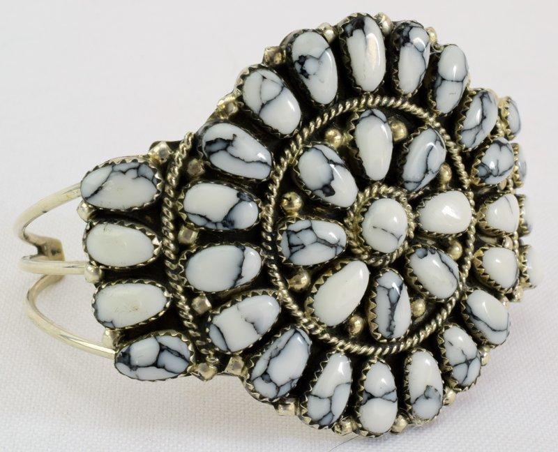 Navajo Sterling White Buffalo Cuff Bracelet - 2
