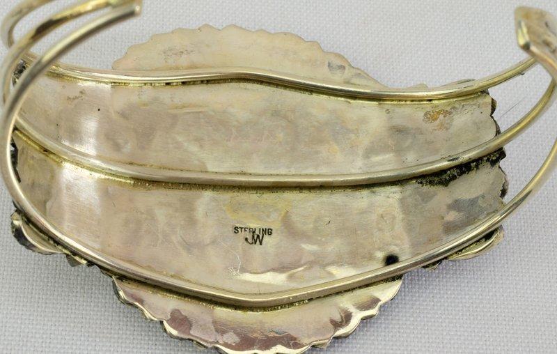 Navajo Sterling White Buffalo Cuff Bracelet - 3