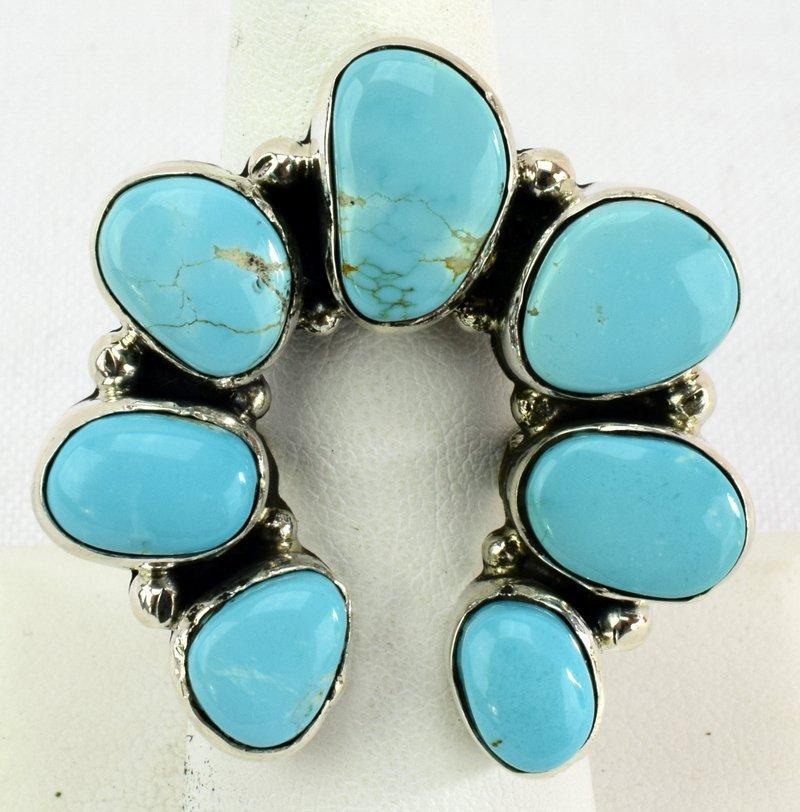 Navajo Turquoise Sterling Silver Naja Ring - 5 Star