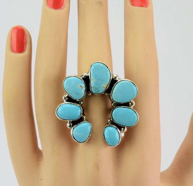 Navajo Turquoise Sterling Silver Naja Ring - 5 Star - 3