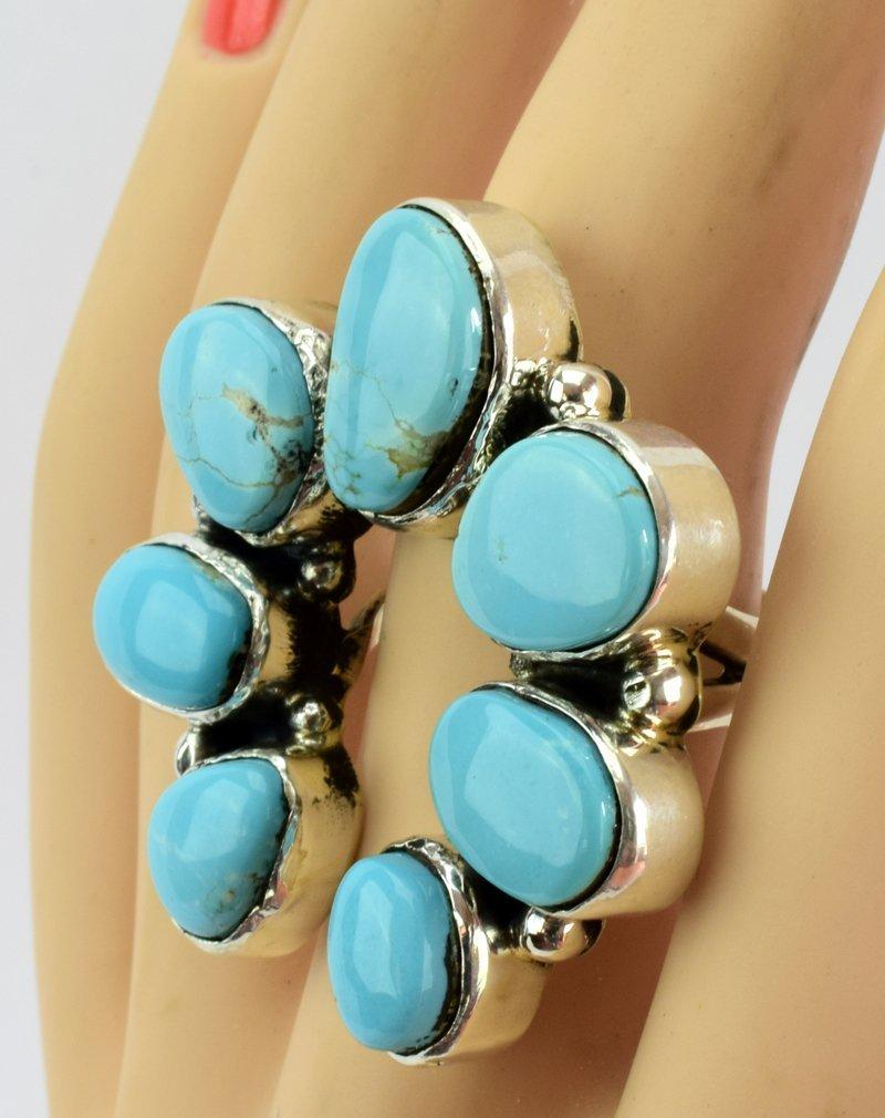 Navajo Turquoise Sterling Silver Naja Ring - 5 Star - 4
