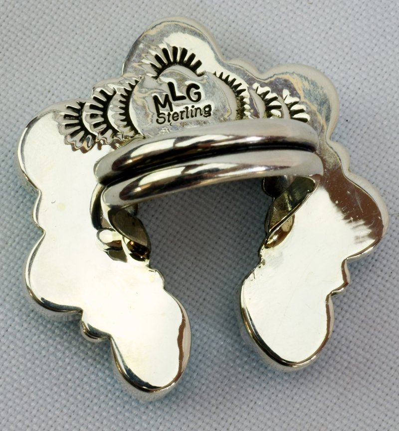 Navajo Turquoise Sterling Silver Naja Ring - 5 Star - 5