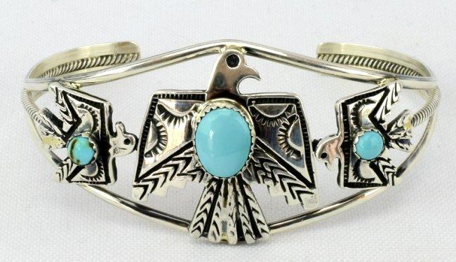 Navajo Sterling  Silver Thunderbird Cuff Bracelet