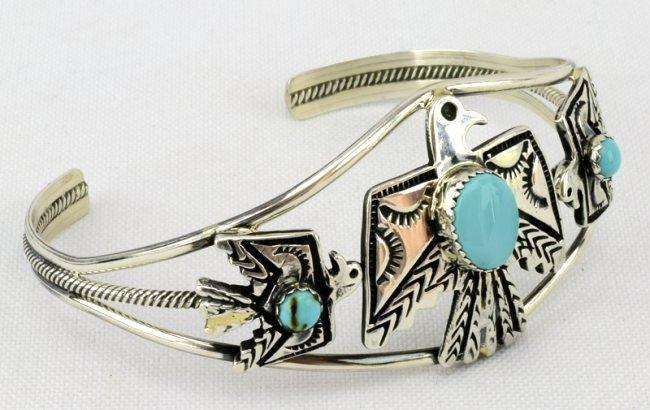 Navajo Sterling  Silver Thunderbird Cuff Bracelet - 2