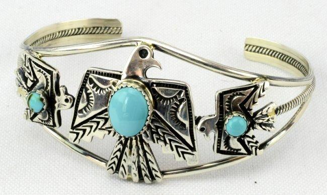 Navajo Sterling  Silver Thunderbird Cuff Bracelet - 3