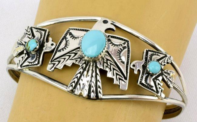 Navajo Sterling  Silver Thunderbird Cuff Bracelet - 4