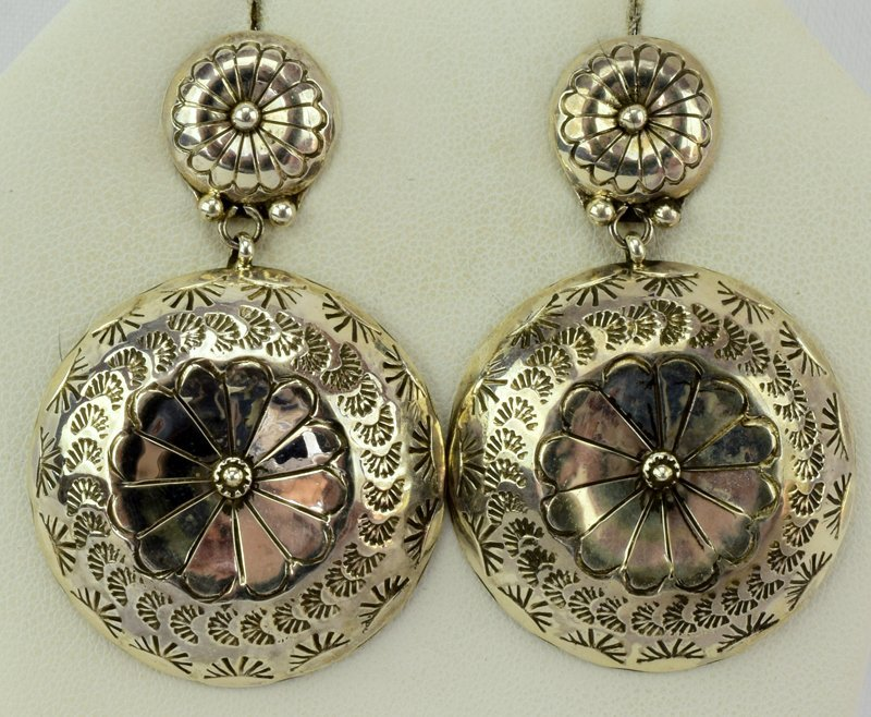 Navajo Old Pawn Sterling Silver Concho Earrings