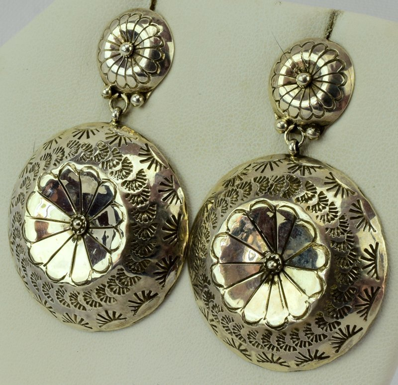 Navajo Old Pawn Sterling Silver Concho Earrings - 2