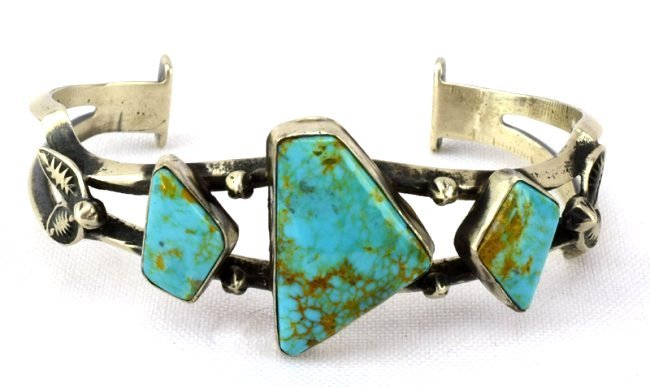 Native American Sterling Sand Cast Turquoise Bracelet
