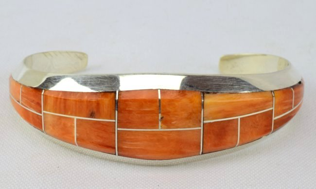 Native American Spiny Oyster Inlay Cuff Bracelet